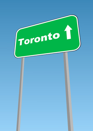 waypoint: illustration - road sign with direction forward to Toronto, Canada