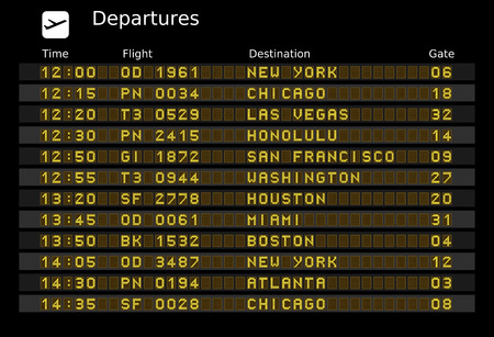 departure board: Departure board - destination airports.