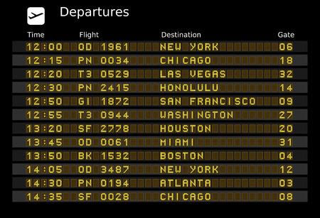 Departure board - destination airports. Vektorové ilustrace