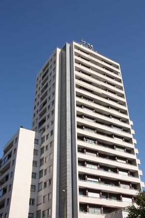 highriser: Skyscraper in Barcelona, Spain. Modern office architecture. Stock Photo