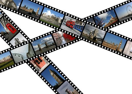 Illustration - film strips with travel photos. London in England, United Kingdom. illustration