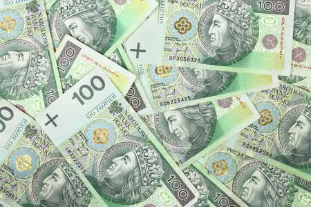 Money background. Banknotes from Poland. Financial texture abstract. photo