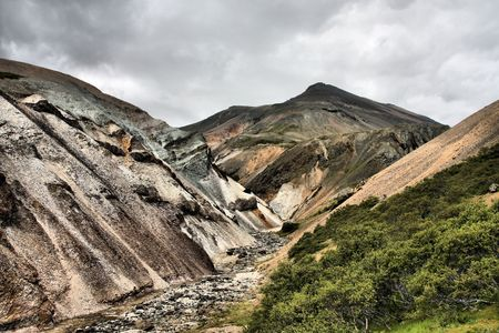 inactive: Colorful rhyolite mountains in inactive volcanic area - Lonsoraefi and Stafafell mountains in Iceland