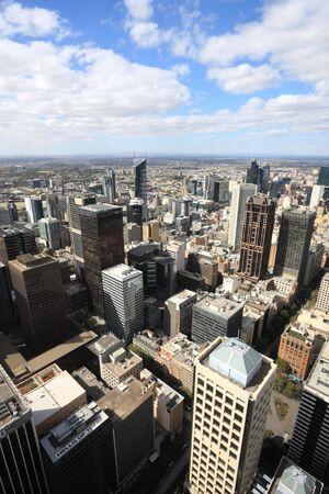 Aerial view of Melbourne, Australia. Multitude of skyscrapers. photo