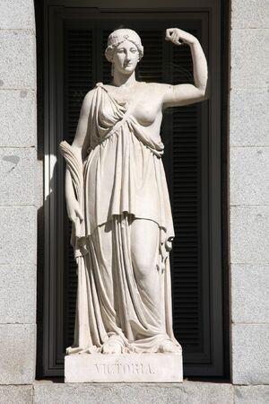 allegorical: Allegory of victory. Allegorical statue in Prado Museum facade, Madrid, Spain.