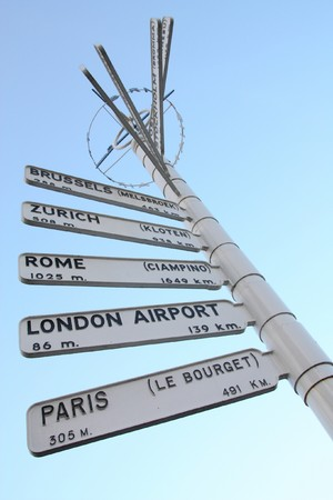 Direction signs showing various European airports and their distance from Birmingham, England. Brussels, Zurich, Rome, London and Paris. photo