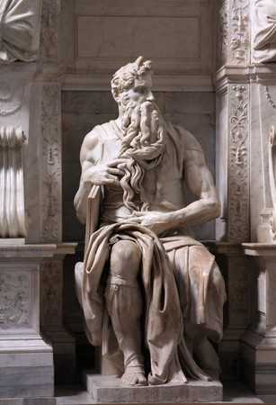 michelangelo: Rome, Italy. One of the most famous sculptures in the world - Moses by Michelangelo, located in San Pietro in Vincoli basilica.