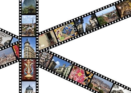 Tiras de película con fotos de viajes. Barcelona, España. Todas las fotos tomadas por mí.