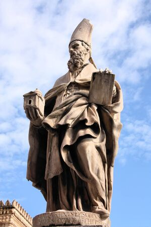 augustine: Saint Augustine of Canterbury - statue in front of Palermo Cathedral, Italy Stock Photo