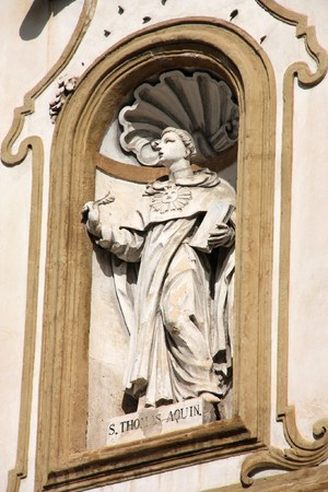 palermo   italy: Saint Thomas Aquinas - statue in facade of Church of Saint Dominic in Palermo, Italy