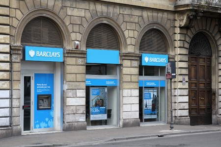 according: ROME - MAY 9: Barclays bank branch street view on May 9, 2010 in Rome, Italy. According to Forbes, Barclays in 25th largest company in the world. According to Datamonitor, it is the largest bank in the world by market share.