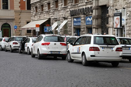 ROME - MAY 11: Taxi stand on May 11, 2010 in Rome, Italy. Rome is infamous for its constant traffic congestion and in addition it has one of the lowest numbers of taxis in Europe (21 per 10000 people).