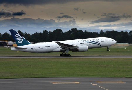 airliner: CHRISTCHURCH, NZ - MARCH 17: Air New Zealand Boeing 777 taking off from Christchurch International Airport on March 18, 2009. B777 series is notable for safety. No fatal accidents with this aircraft ever happened. Editorial