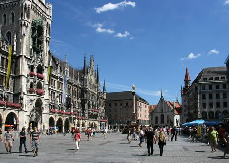 MUNICH - AUGUST 7: View of famous Marienplatz on August 7, 2008 in Munich, Germany. Marienplatz is the always crowded very heart of the city. Editorial