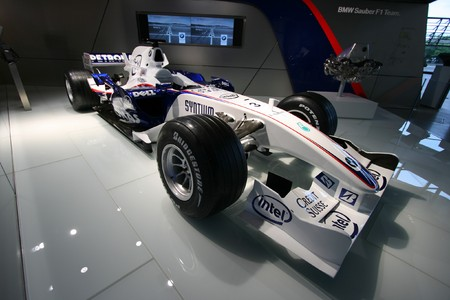 formula one car: MUNICH - AUGUST 7: Formula One car of BMW Sauber team on August 7, 2008 in BMW Welt museum in Munich, Germany. BMW Sauber was the 2nd F1 team in 2007 and the 3rd in 2008.