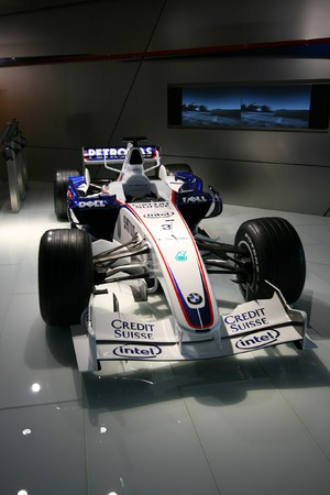 bmw: MUNICH - AUGUST 7: Formula One car of BMW Sauber team on August 7, 2008 in BMW Welt museum in Munich, Germany. BMW Sauber was the 2nd F1 team in 2007 and the 3rd in 2008.