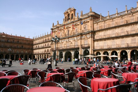 recognized: SALAMANCA - OCTOBER 10: Plaza Mayor view on October 10, 2008 in Salamanca, Spain. Salamancas Plaza Mayor is one of the most recognized landmarks in Spain.