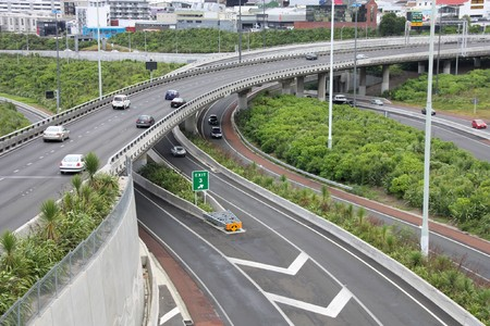 flyover: Auckland, New Zealand. Complicated road junction. Highways and freeways system.