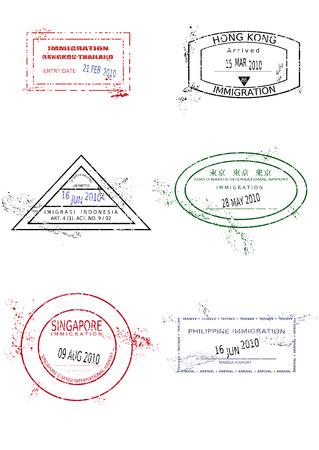 indonesien: Passport-Briefmarken aus Asien. Grungy befleckt Passport-Seite mit skalierbaren Grunge Stempel (nicht wirklich).