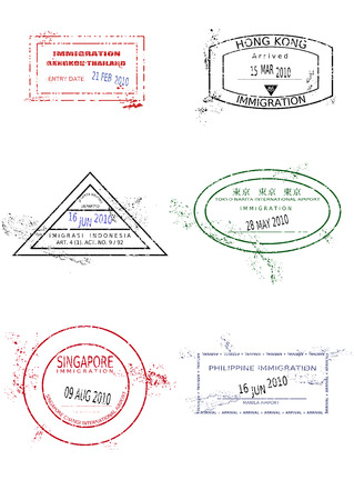 hong kong city: Passport stamps from Asia. Grungy stained passport page with scalable grunge stamps (not real).
