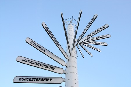 worcestershire: Direction signs showing various destinations near Birmingham, England