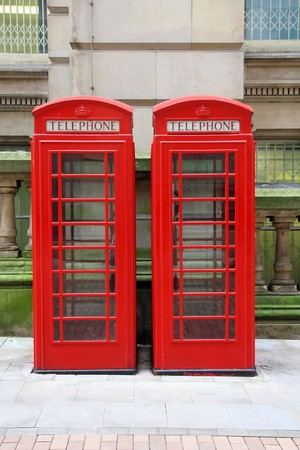 phonebooth: Birmingham red telephone boxes. West Midlands, England. Stock Photo