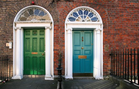 twin house: Georgian architecture of Dublin - twin doors in green and blue