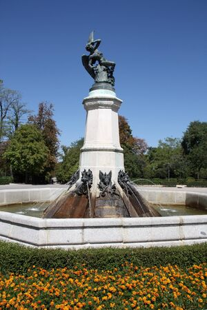 Famous sculpture in Retiro Park in Madrid, Spain - Lucifer, the Fallen Angel (Satan) photo