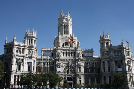 cibeles: Beautiful architecture in Madrid. Palace of Telecommunications - former post office serving as the city hall. Cibeles Square.
