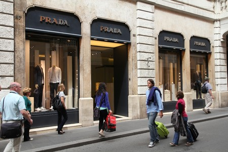 ROME - MAY 12: Prada luxury fashion boutique on May 12, 2010 in Rome. According to Trendbird, Prada is in top 10 most valuable luxury brands, with value around 3 billion USD. Stock Photo - 7278499