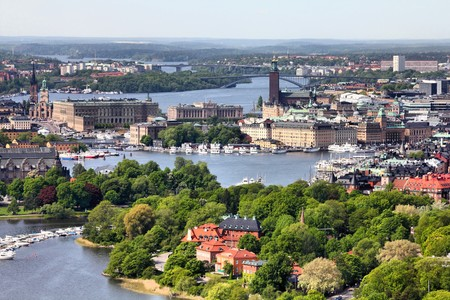 Stockholm, Sweden. Aerial view of famous Gamla Stan (the Old Town) and other islands, canals, landmarks. Stock Photo - 7313564