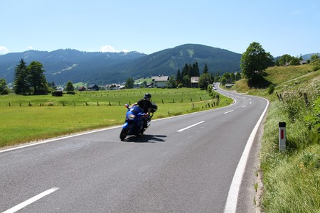 austrian: Motorbiking in Austrian Alps. Alpine landscape in Upper Austria. Road to Pass Gschutt.