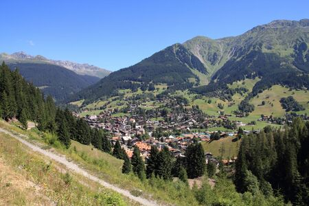 canton: Klosters - beautiful Swiss town located in Plessur Range of Alps. Canton of Grisons (Graubunden). Stock Photo