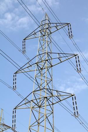 High voltage electricity pylon in Switzerland. Power grid. Stock Photo - 7464249