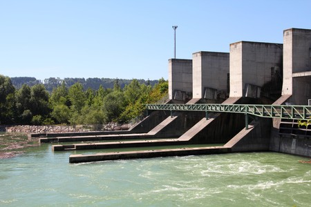 hydro: Hydro power plant on Traun river in Marchtrenk, Austria. Concrete dam.