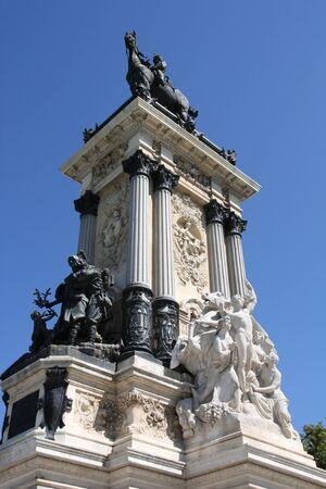 Monument in Retiro park in Madrid, Spain. King Alfonso XII memorial. photo
