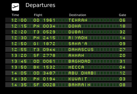 Departure board - destination airports - the letters and numbers for easy editing your own messages are embedded outside the viewing area. Middle East destinations: Tehran, Doha, Dubai, Riyadh, Sanaa, Damascus, Amman, Baghdad, Mecca, Abu Dhabi, Kuwait, Ba Vektorové ilustrace