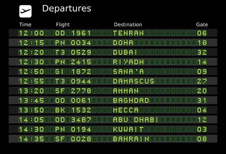 cronograma: Salida Junta - aeropuertos de destino - las letras y n�meros para f�cil editar sus propios mensajes est�n incrustados fuera del �rea de visualizaci�n. Destinos de Oriente Medio: Teher�n, Doha, Dubai, Riad, sana, Damasco, Amm�n, Bagdad, Meca, Abu Dhabi, Kuwait, BA  Vectores