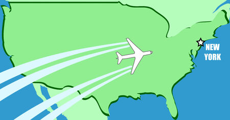 visit us: Simplified map of USA with airplane inflight to destination New York Illustration