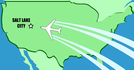 visit us: Simplified map of USA with airplane inflight to destination Salt Lake City, Utah