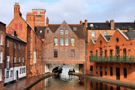 Birmingham water canal network - famous Gas Street Basin. West Midlands, England. Stock Photo - 7700419