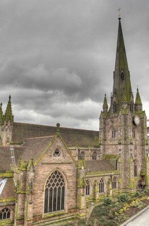 Birmingham in West Midlands, England. Exterior of medieval Saint Martin in the Bull Ring church. Anglican church parish. HDR photo. Stock Photo - 7700409