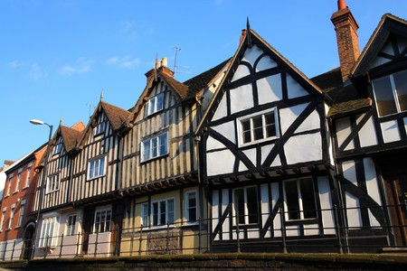 Half-timbered buildings, typical English architecture. Warwick town in Warwickshire - West Midlands, England. photo