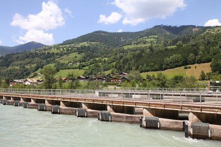 Hydro power plant on Salzach river near Zell Am See, Austria. Concrete weir. Stock Photo - 7833249