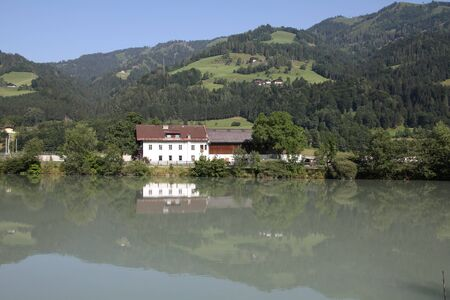 Austria - view with Salzach river near Bischofshofen. Water reflection. Stock Photo - 7833265