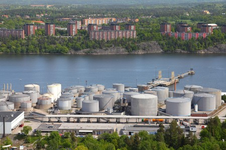 Oil tanks and other silos at Stockholm sea port. Sweden. photo