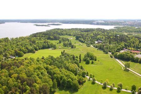 aerial views: Stockholm, Sweden. Forest park at Gardet district (official name: Ladugardsgardet).