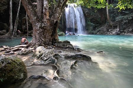 Beautiful waterfall in Thailands Erawan Waterfalls National Park. Kanchanaburi region. photo