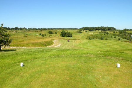 Golf course in Poland, Malopolska region. Green golf fields. photo