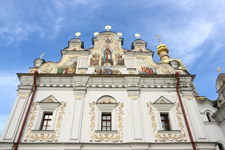 Kiev Pechersk Lavra - famous monastery. Ukrainian landmark. Cathedral of the Dormition. photo